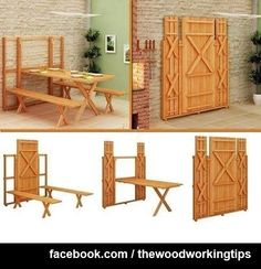 Stephen we need ti figure out how to make this happen for my porch dining area Fold-up picnic table and bench!