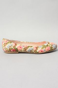 The Limousine Flat in Cream Floral Women's Shoes By BC Shoes $35.00