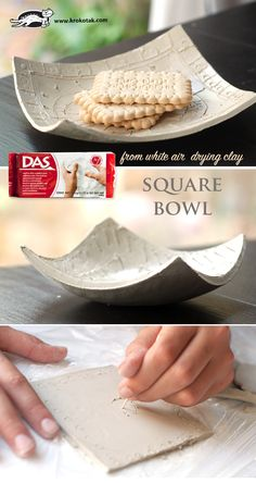 Squate coup from white air drying clay