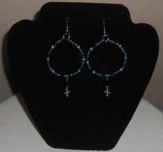 Crystal aqua blue hoop with dangle bead and cross by leidesigns