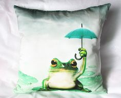 Decorative throw pillows cover frog umbrella pillow cover 18x18 frog decorative pillows for couch on Etsy