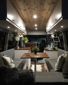 Beautiful interior with table space that converts to bed... what about under bed storage?