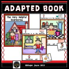 """Adapted books are a great way to engage beginning readers. This 12 page interactive book focuses on chores Scarecrow does in the house to be helpful.  Each page has the same repetitive sentence and sentence frame:""""Scarecrow is in the (room of house)"""" .  """"Scarecrow will ( household chore). """" Students complete the sentence frame on each page by selecting the matching picture from the picture bank and attaching to the corresponding page.Check out my other Fall Harvest themed products:ADAPTED…"""