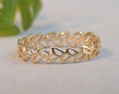 Gold Ring Gold Leaf Ring Gold Floral Ring by MYJewelryEtsyShop