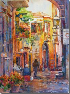 """""""Sorrento,"""" a watercolor by Rose Edin.  An evening scene in the narrow streets of Sorrento, Italy."""