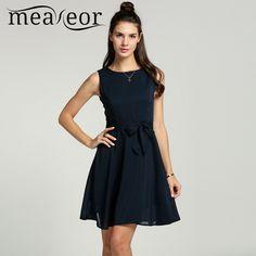 Meaneor chiffon delle donne 13 colori solidi estate pretty vestidos famale elegante pieghettato dress senza maniche in maglia mini dress con la cinghia