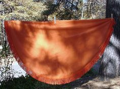 Vintage Orange Round Fringed Tablecloth  by NopalitoVintageMore, $30.00