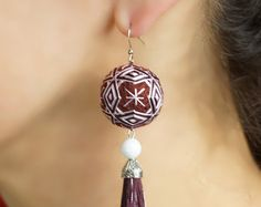 Temari Earrings Long Earrings PinkDangle & Drop by PhilosophySilk