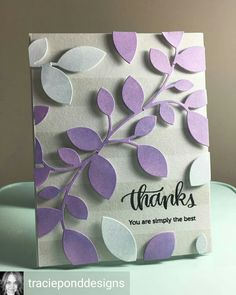 Leaves diecut in purple and white, sss. Purple Cards, Altenew Cards, Leaf Cards, Beautiful Handmade Cards, Card Making Techniques, Pretty Cards, Card Sketches, Flower Cards, Greeting Cards Handmade