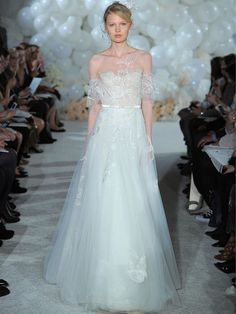 Mira Zwillinger Spring 2018 ivory over nude embroidered tulle ball gown with flutter sleeve
