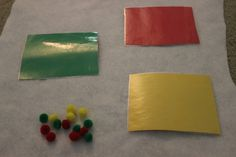 Use leftoever pompoms to create academic activities for young children-sort by color http://hoybycrafts.blogspot.com