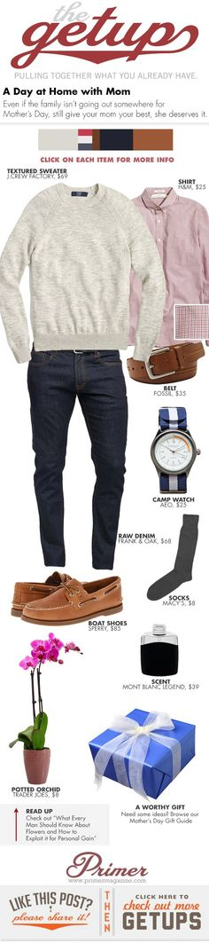 The Getup: A Day at Home with Mom - Primer (note to *my* son--this is not necessary-just pinning for options) (love you! Men's Fashion, Autumn Fashion, Fashion Outfits, Fashion Trends, Mode Outfits, Casual Outfits, Men Casual, Looks Style, Casual Looks