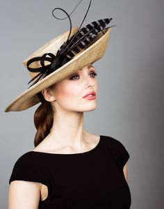 Fine straw sidesweep with striped feather and quills | Rachel Trevor Morgan Millinery | Crafted in London, England | Spring-Summer 2016