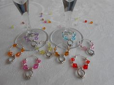 Engagement party decoration - wine glass charms
