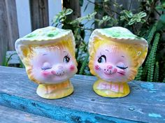 Vintage Enesco Winking Kitty Salt and Pepper by UnderTheSycamores, $38.00