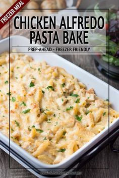 Chicken Alfredo Bake - If you thought freezer meals had to be bland and boring,. - Chicken Alfredo Bake – If you thought freezer meals had to be bland and boring, then prepare to - Chicken Freezer Meals, Freezer Friendly Meals, Make Ahead Freezer Meals, Freezer Cooking, Freezer Meal Recipes, Make Ahead Casseroles, Frozen Chicken Meals, Hamburger Freezer Meals, Easy Freezable Meals
