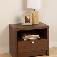 Prepac - Valhalla Designer Series Medium Brown Walnut 1-Drawer Nightstand - This Medium Brown Walnut Valhalla Nightstand draws your eye with its bold,thick tops and sides.  The open shelf is ideal for items you want to be handy while a generously sized drawer is perfect for out-of-sight storage.