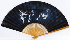 Lot 243: Asian Painted Paper Decorative Fan; Having bamboo sticks with painted birds on the paper fan
