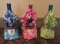 Barefoot wine in gift / treat bag with confetti and Hershey kisses used as gifts for baby shower games, party favors.  Baby boy or baby girl.