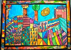 Colorful landscape...the hot air balloons on this page are great too.