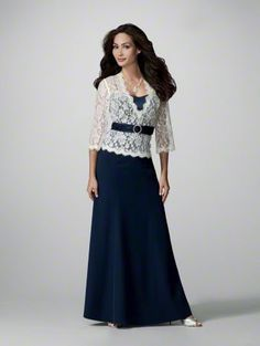 Mother of the bride  ♥ Add This Dress to My Favorites  Lace & Satin Top  Rhinestone Buckle  Featured Color: Ivory/Navy  Bodice Available in White or Ivory with Trim in 60 colors  Shown with Skirt 70708  Top & Skirt Sold Separately  Sizes: 0 to 30W