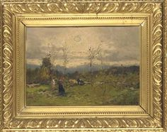ALLA CAMPAGNA<br>dated '10.11.1907' (lower right) studio stamp (on the reverse)<br>oil on panel<br>12 1/2 x 17 1/2 in. (32 x 42 cm.)