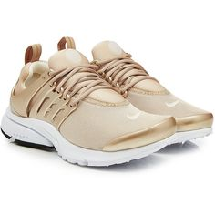 Nike Air Presto Sneakers ($125) ❤ liked on Polyvore featuring men's fashion, men's shoes, men's sneakers, beige, nike footwear, structure shoes, gold trainers, urban footwear and nike shoes