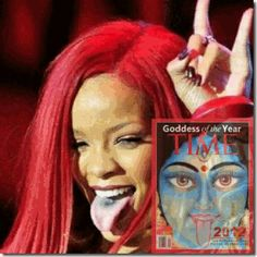 Rihanna, Satanic/ILLUMINATI Blood Lapping Tongue of Goddess Kali