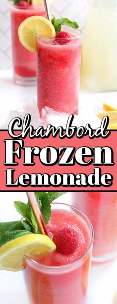 This Chambord Frozen Lemonade is a homemade boozy slushie cocktail that is perfect for a Mother's Day brunch, afternoon sipper or on a hot summer night. Chambord Cocktails, Frozen Cocktails, Refreshing Cocktails, Summer Cocktails, Cocktail Drinks, Fun Drinks, Beverages, Alcoholic Drinks, Sangria Recipes