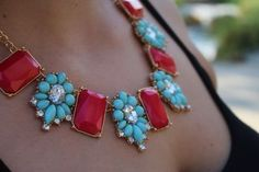 Turquoise & Coral Dream Necklace