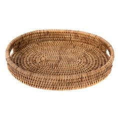 Round Wicker Tray With Handles Coffee Table