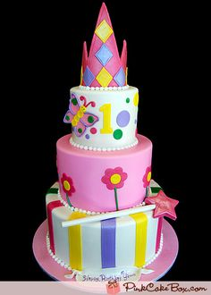 Princess Themed 1st Birthday Cake by Pink Cake Box in Denville, NJ.  More photos at http://blog.pinkcakebox.com/princess-themed-1st-birthday-cake-2008-07-07.htm  #cakes