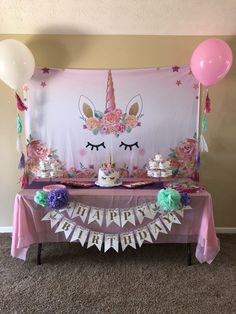 This item for sale is just the Happy Birthday banner. It does not come with pom poms. This banner is made with printed card stock and golden metallic/shiny letters to help make your daughter's party sparkle! Processing time is days. Unicorn Themed Birthday Party, Unicorn Birthday Parties, First Birthday Parties, Birthday Party Decorations, Birthday Ideas, 5th Birthday, Diy Unicorn Party, Table Decorations, Fete Emma