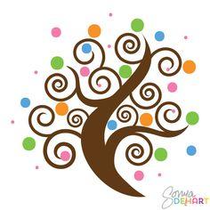 Swirl Clip Art | Vector swirl trees clip art set