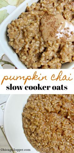 Pumpkin Chai Slow Cooker Oats - This seasonal breakfast recipe combines my favorite fall flavors, including pumpkin pie and chai spices, with healthy steel cut oats. This is an easy recipe made in a slow cooker or crock pot. | Chicago Jogger