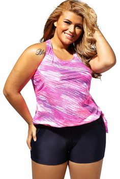 Mode Plus Size Rosy Print Blouson Tankini Swimsuit with Black Board Shorts Plus Size Tankini, Plus Size Swimsuits, Tankini Top, Two Piece Swimsuits, Women Swimsuits, Fashion Swimsuits, Mode Plus, Plus Size Jeans, Plus Size Women