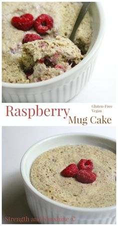 Raspberry Mug Cake | Strength and Sunshine @RebeccaGF666 Tart and sweet raspberries combine with omega-3 packed flax and lovely vanilla to create one taste bud pleasing breakfast. This raspberry mug cake recipe is cooked in 90 seconds, is gluten-free, vegan, and refined sugar-free!