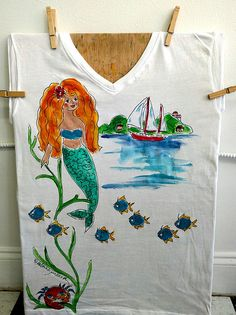 Mermaid T-Shirt Hand Painted for Women and Girls Paint Shirts, Wild Hair, Kids Shorts, Mehndi Designs, Sea Creatures, Hand Painted, Diy Crafts, Abstract, Mermaid Mermaid