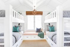 Kids bedroom with double bunkbeds: http://www.stylemepretty.com/living/2016/12/08/5-kids-bedrooms-youll-be-totally-jealous-of/ Photography: Tessa Neustadt - http://tessaneustadt.com/
