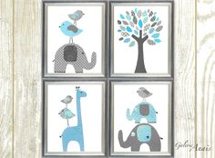 Blue and gray Home Décor nursery art Elephant Nursery giraffe nursery wall art kids room baby nursery decor children art Set of 4 prints This is a set of prints made on matte photo paper that will need to be framed. Check out my shop: http://www.etsy.com/shop/GalerieAnais Facebook
