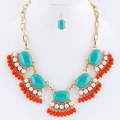 Venus Fringe Necklace Earrings Set (More available colors)