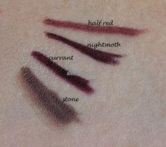 stone currant nightmoth half red lip pencil Eyeshadows, Lipsticks, Lip Pencil, Red Lips, Swatch, Tattoo Quotes, Stone, Tattoos, Tatuajes
