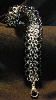 Handmade Beaded Chain Maille Bracelet, via Etsy.