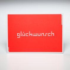 "Grußkarte ""glückwunsch"", neon orange | urban-designed.de/shop"