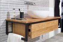 Waschtischunterschrank Loft Aus Teak Metall Schwarz Spa