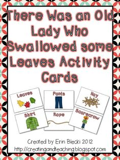 There Was an Old Lady Who Swallowed Some Leaves Activity Cards