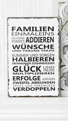 XL  26x17cm Shabby Vintage Schild FAMILIEN 1 x 1 von homestyle-accessoires via dawanda.com