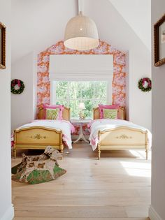 Like the idea of a bold print on wall and the two twin beds separated by small table.  Maybe in guest room?