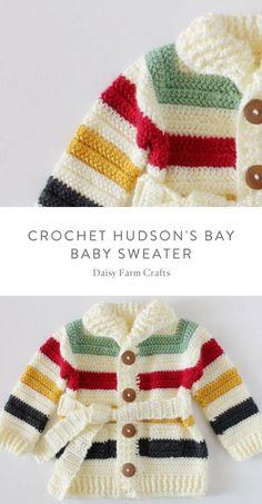 Free pattern crochet hudson s bay baby sweater Crochet Baby Sweater Pattern, Crochet Baby Blanket Beginner, Crochet Baby Sweaters, Baby Sweater Patterns, Crochet Baby Clothes, Baby Knitting Patterns, Baby Patterns, Knitting Ideas, Crochet Patterns