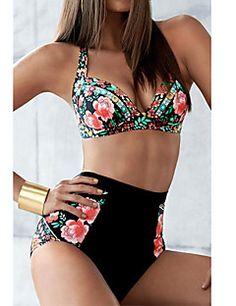 Mulheres Tanquini Cintura-Alta / Floral Nadador Com Aro / Sem Bojo Poliéster / Elastano Mulheres